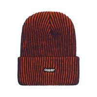 ONLYNY / 2-Tone Ribbed Logo Beanie -Orange-Navy- / ニットキャップ