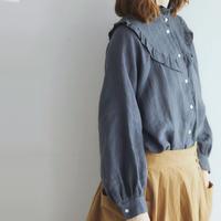 <予約販売>ベルギーリネン・クラシック・ブラウス/グレイッシュ・ネイビー
