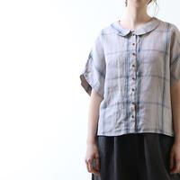 強燃チェックリネン・ブラウス/ブルー×グレー