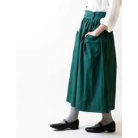 硫化染めコットン・ギャザースカート/フォレストグリーン
