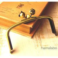 【HA-462】三枚口(二口口金)12cm/(ネコ玉×肉球×アンティークゴールド)
