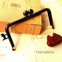 2月14日販売開始!【HA-1666】ネコカン口金/(碁石×横ネコカン)/12cm角型(ブラック)