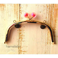 【HA-1634】15cm/くし型(スモーク玉レッド×ゴールド)・カン付き