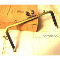 【HA-1670】ネコカン口金/(肉球×横ネコカン)/18cm角型(アンティークゴールド)・カン付き