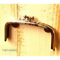 【HA-1369】三枚口(二口口金)12cm/(竹の根ひねり×シルバー)