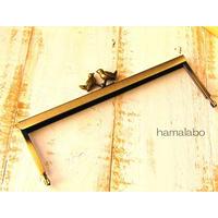 【HA-1543】19cm浮き足口金/小鳥のピースケ(アンティークゴールド)