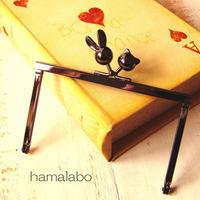 9月23日販売開始!【HA-1745】12cm浮き足口金/ウサギ玉×ネコ玉(ブラック)