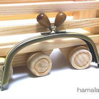 【HA-1413】12.5cm/くし型(茶色の木オーバル×アンティークゴールド)