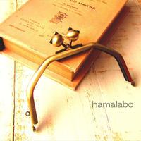 【HA-1610】台形型の口金13cm/(ネコ玉×アンティークゴールド)