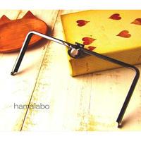 【HA-1589】オコシ式口金22cm/角型(ネコ×ブラック)