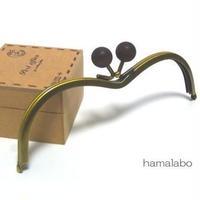 【HA-108】メガネ型(茶色の木玉×アンティークゴールド)