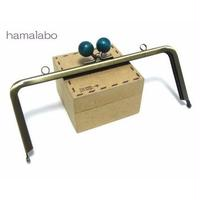 【HA-116】18cm木玉/角型(紺色の木玉×アンティークゴールド)・カン付き