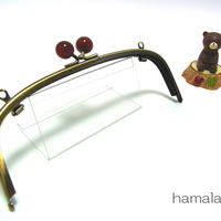 【HA-1272】20.4cm/くし型(べっ甲玉×アンティークゴールド)・兼用カン付き
