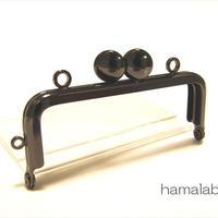 【HA-1517】8.5cm口金/角型(ブラック)/カン付き-碁石つまみ-