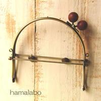 【HA-383】16cmベンリー口金/(ちょっと大きな茶色の木玉×アンティークゴールド)・カン付き