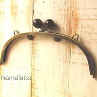 【HA-390】24cmくし型/(大きな茶色の木玉×アンティークゴールド)・カン付き