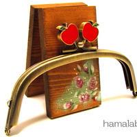 【HA-331】12.5cm/くし型(赤リンゴ×アンティークゴールド)