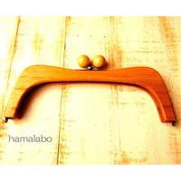 【HA-456】27cmくし型の木製口金(ナチュラルの木玉×アンティークゴールド)