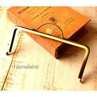 【HA-1642】ネコ型タイプ!持ち手付きの押し口金18cm/角型(アンティークゴールド)