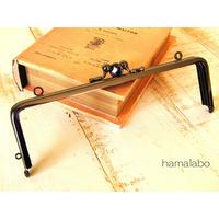 【HA-465】三枚口(二口口金)19cm/(竹の根ひねり×ブラック)・カン付き
