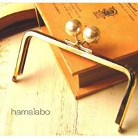 【HA-1519】12cm/角型(ホワイトパール×ゴールド)