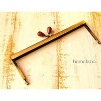 【HA-1539】19cm浮き足口金/茶色の木オーバル(アンティークゴールド)