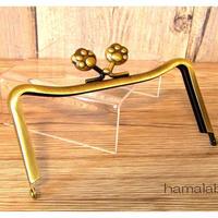 【HA-1448】12cmM字型(ネコ耳型)の口金(肉球×アンティークゴールド)