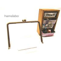 【HA-1349】17.7cm/角型の碁石口金(アンティークゴールド)