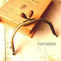 6月11日販売開始!【HA-1608】台形型の口金13cm/(茶色の木オーバル×アンティークゴールド)