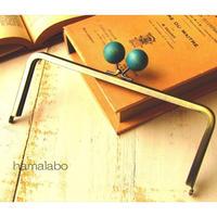 【HA-1522】18cm/角型(ちょっと大きな紺色の木玉×アンティークゴールド)