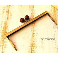 【HA-1536】19cm浮き足口金/ちょっと大きな茶色の木玉(アンティークゴールド)