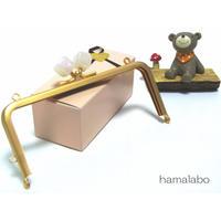 【HA-1377】13.5cm/角型(オーロラホワイト×ソフトゴールド)・カン付き