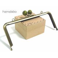 【HA-1416】18cm木玉/角型(抹茶色の木玉×アンティークゴールド)・カン付き