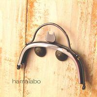 【HA-1581】ネコ型タイプ!持ち手付きの押し口金10cm/くし型(ブラック)
