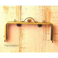 【HA-1574】持ち手付きの押し口金18cm/角型(アンティークゴールド)・カン付き
