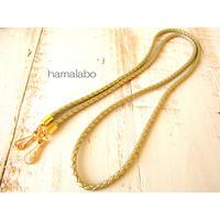 【HA-540】ショルダーひも100cm(ゴールド)-合皮テープ編み-