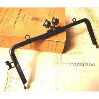 【HA-1669】ネコカン口金/(ネコ玉×横ネコカン)/18cm角型(ブラック)・カン付き