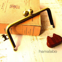 【HA-1667】ネコカン口金/(碁石×横ネコカン)/12cm角型(アンティークゴールド)