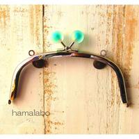 【HA-1636】15cm/くし型(スモーク玉グリーンシルバー)・カン付き