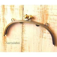 【HA-394】24cmくし型/(大きなネコ玉×アンティークゴールド)・カン付き