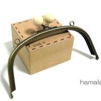 【HA-1418】15cm/くし型(白玉×アンティークゴールド)・カン付き