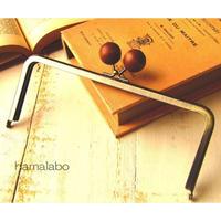 【HA-1521】18cm/角型(ちょっと大きな茶色の木玉×アンティークゴールド)