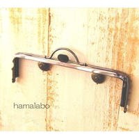 【HA-1614】持ち手付きの押し口金16.5cm/角型(ブラック)