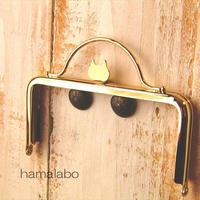 11月25日販売開始!【HA-1583】ネコ型タイプ!持ち手付きの押し口金12cm/角型(ゴールド)