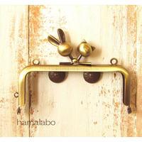 【HA-1755】10cm/角型(ウサギ玉×ネコ玉)・アンティークゴールド・カン付き