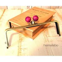 【HA-1439】三枚口(二口口金)19cm/(ちょっと大きい紫色の木玉×アンティークゴールド)・カン付き