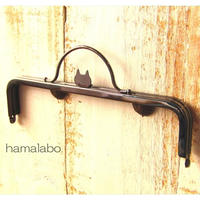 5月26日販売開始!限定販売!【HA-1626】ネコ型タイプ!持ち手付きの押し口金16.5cm/角型(ブラック)