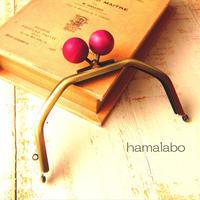 4月2日販売開始!【HA-1607】台形型の口金13cm/(ちょっと大きな紫色の木玉×アンティークゴールド)