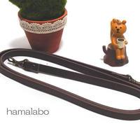 【HA-501】がま口バッグ用の肩下げ(ショルダーベルト茶色)-細め-アンティーク金具