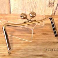【HA-1447】12cmM字型(ネコ耳型)の口金(肉球×シルバー)
